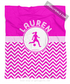 Golly Girls: Personalized Simple Pink Chevron Soccer Fleece Throw Blanket