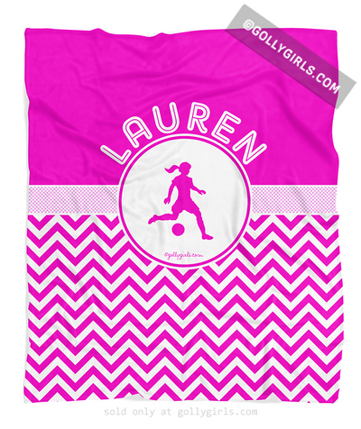 Golly Girls: Personalized Simple Pink Chevron Soccer Fleece Blanket
