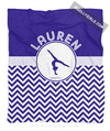Golly Girls: Personalized Simple Blue Chevron Gymnastics Fleece Throw Blanket