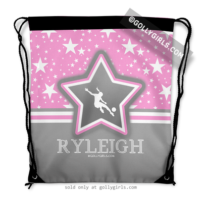 Golly Girls: Personalized Soccer Among The Stars Drawstring Backpack