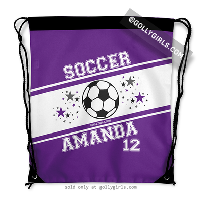 Golly Girls: Personalized Purple Soccer Jersey Style Name Plus Number Drawstring Backpack