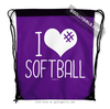 Golly Girls: I Hashtag Heart Softball - Purple Drawstring Backpack