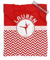 Golly Girls: Personalized Simple Red Chevron Dance Fleece Blanket