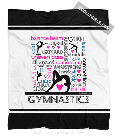 Golly Girls: Words of Gymnastics Typography Fleece Blanket