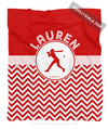 Golly Girls: Personalized Simple Red Chevron Softball Fleece Blanket