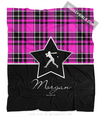 Golly Girls: Personalized Pink Plaid and Silver Star Softball Fleece Blanket