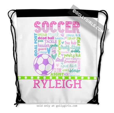 Golly Girls: Personalized Pastel Soccer Typography Drawstring Backpack