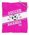 Golly Girls: Personalized Pink Jersey Style Name Plus Number Soccer Fleece Throw Blanket