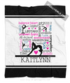 Golly Girls: Personalized Words of Gymnastics Typography Fleece Throw Blanket