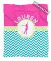 Golly Girls: Personalized Multi-Colored Chevron Figure Skating Fleece Throw Blanket