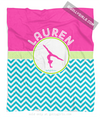 Golly Girls: Personalized Multi-Colored Chevron Gymnastics Fleece Throw Blanket