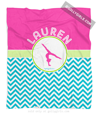 Golly Girls: Personalized Multi-Colored Chevron Gymnastics Fleece Blanket