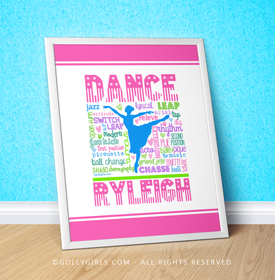 "Golly Girls: Personalized Pastel Dance Typography 16"" x 20"" Poster"