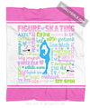 Golly Girls: Pastel Figure Skating Typography Fleece Throw Blanket