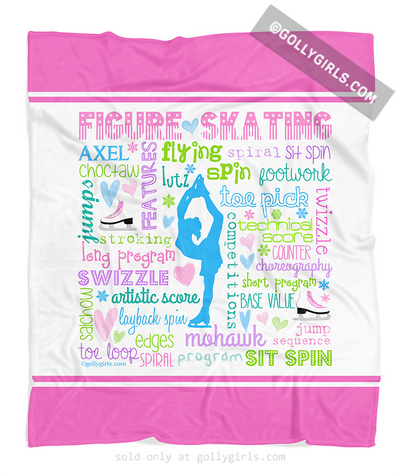Golly Girls: Pastel Figure Skating Typography Fleece Blanket