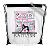 Golly Girls: Personalized Words of Gymnastics Typography Drawstring Backpack