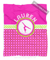 Golly Girls: Personalized Pink and Green Polka-Dots Gymnastics Fleece Throw Blanket