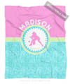 Golly Girls: Personalized Tri-Pastel Tile Softball Fleece Throw Blanket