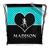 Golly Girls: Personalized Turquoise Doodle-Dots Soccer Drawstring Backpack