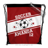 Golly Girls: Personalized Red Soccer Jersey Style Name Plus Number Drawstring Backpack