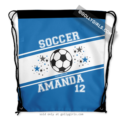 Golly Girls: Personalized Blue Soccer Jersey Style Name Plus Number Drawstring Backpack