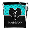 Golly Girls: Personalized Turquoise Doodle-Dots Cheerleading Drawstring Backpack