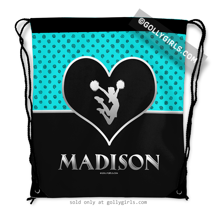 adc70888eb36 Personalized Turquoise Doodle-Dots Cheerleading Drawstring Backpack
