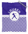 Golly Girls: Personalized Simple Blue Chevron Softball Fleece Throw Blanket