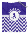 Golly Girls: Personalized Simple Blue Chevron Soccer Fleece Throw Blanket