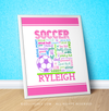 "Golly Girls: Personalized Pastel Soccer Typography 16"" x 20"" Poster"