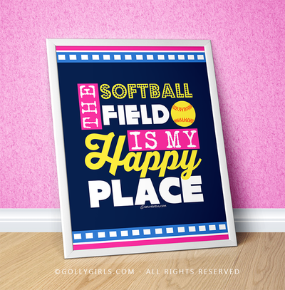 "Golly Girls: The Softball Field Is My Happy Place 16"" x 20"" Poster"