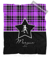 Golly Girls: Personalized Purple Plaid and Silver Star Soccer Fleece Throw Blanket