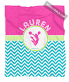 Golly Girls: Personalized Multi-Colored Chevron Cheerleading Fleece Throw Blanket