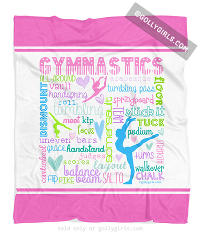 Golly Girls: Pastel Gymnastics Typography Fleece Throw Blanket