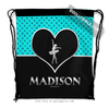 Golly Girls: Personalized Turquoise Doodle-Dots Dance Drawstring Backpack