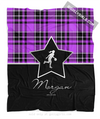 Golly Girls: Personalized Purple Plaid and Silver Star Basketball Fleece Throw Blanket