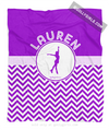 Golly Girls: Personalized Simple Purple Chevron Figure Skating Fleece Throw Blanket