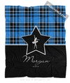 Golly Girls: Personalized Blue Plaid and Silver Star Dance Fleece Throw Blanket