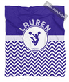 Golly Girls: Personalized Simple Blue Chevron Cheerleading Fleece Throw Blanket