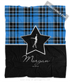 Golly Girls: Personalized Blue Plaid and Silver Star Figure Skating Fleece Blanket