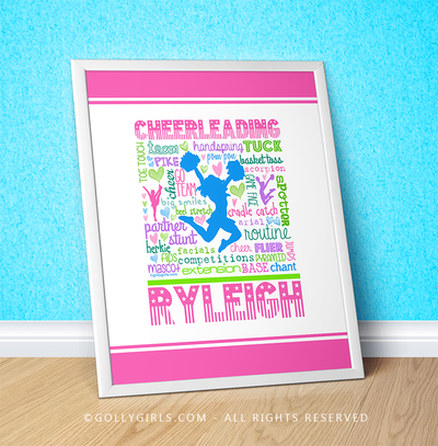 "Golly Girls: Personalized Pastel Cheerleading (with poms) Typography 16"" x 20"" Poster"
