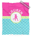 Golly Girls: Personalized Multi-Colored Chevron Soccer Fleece Throw Blanket