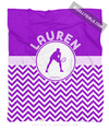 Golly Girls: Personalized Simple Purple Chevron Tennis Fleece Throw Blanket