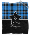 Golly Girls: Personalized Blue Plaid and Silver Star Gymnastics Fleece Throw Blanket