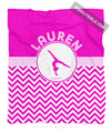 Golly Girls: Personalized Simple Pink Chevron Gymnastics Fleece Blanket