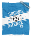 Golly Girls: Personalized Blue Jersey Style Name Plus Number Soccer Fleece Throw Blanket