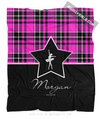 Golly Girls: Personalized Pink Plaid and Silver Star Dance Fleece Throw Blanket