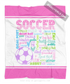 Golly Girls: Pastel Soccer Typography Fleece Blanket