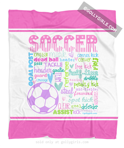 Golly Girls: Pastel Soccer Typography Fleece Throw Blanket