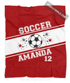 Golly Girls: Personalized Red Jersey Style Name Plus Number Soccer Fleece Throw Blanket